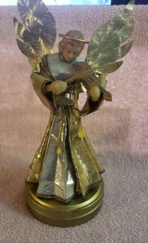 Vintage Western Germany Nuremberg Wax Angel Gold Foil Music Box