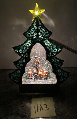 "Christmas Tree Snow Globe SWIRLING Lighted Carolers 12"" (HA3) Star Lamp Post"