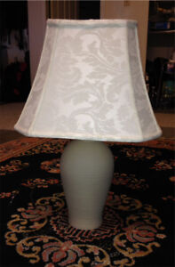 Ceramic lamp with white damask shade