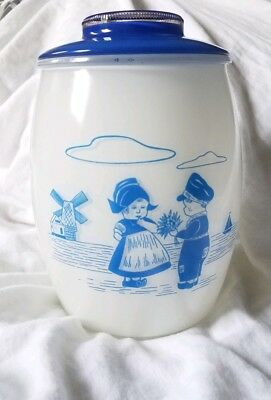 Rare Vintage Bartlett Collins Dutch Girl and Boy Cookie Jar with Blue Lid