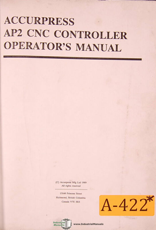 Accurpress AP2, Controller Operations and Programming Manual
