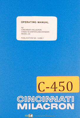 Cincinnati Cinco 15 De Centerless Grinder Operations Manual 1974