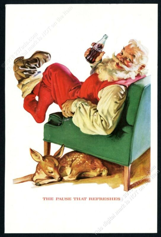 1958 Coke Santa Claus deer Christmas art Coca Cola vintage print ad