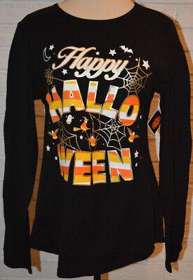 Happy Halloween L (Women's Happy Halloween Long Sleeve Black Shirt Top Sizes M,)