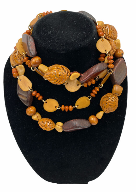 """Handmade African Safari Primitive Style Layering 18"""" Wood Statement Necklaces"""