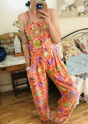 Vintage Jumpsuit Floral 1990 Pink Peach Sleeveless 8-10 Backless