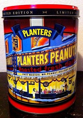 COLLECTIBLE CHRISTMAS TIN PLANTER'S PEANUTS LIMITED EDITION 1998 MOVIE MARQUEE