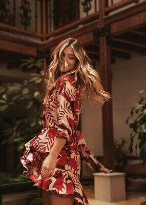 Johanna Ortiz X H&M Flounced Beige Red Leaf Print Dress 14 SOLD OUT BLOGGERS