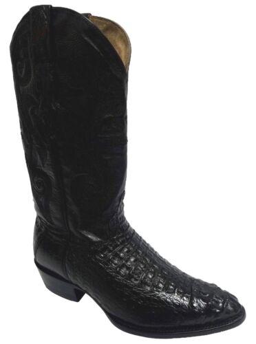 Mens, Black, Crocodile, Exotic, Skin, Head, Cut, Leather, Cowboy, Boots, J, Toe, Size, 8