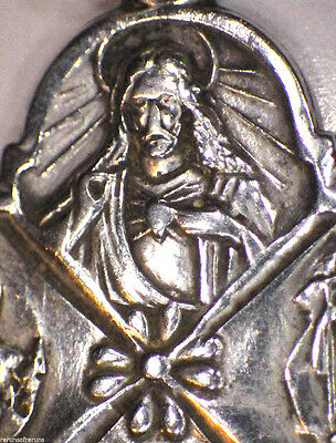 ⭐ VINTAGE WWI MEDAL SCAPULAR ✞ STERLING INFINITY MARK ☧ ROMAN CATHOLIC PENDANT