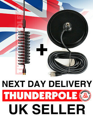 "Thunderpole Orbitor Antenna + 7"" Large Magnetic Mag Mount Kit | CB Radio Aerial"