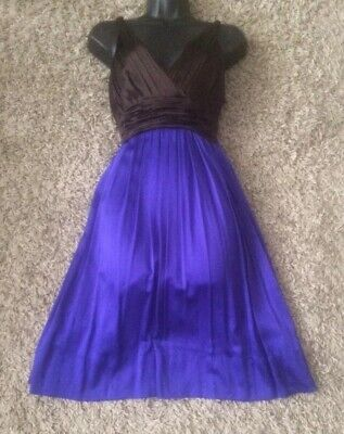 (#2772) DKNY Silk Contrast Occasion Dress Purple/Brown Size 8 US Approx 12 UK