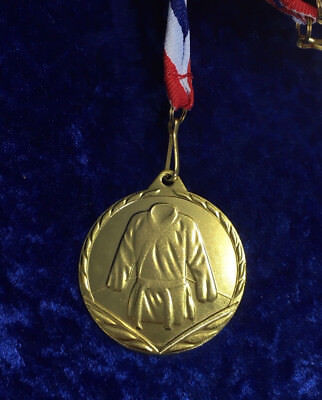 - Martial Arts Gold 45mm Metal Medal on Ribbon Karate Judo Competition Tournament