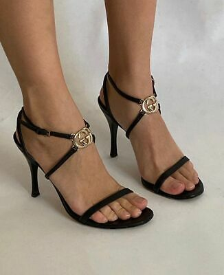 Auth vintage leather black strappy Gucci logo heels 38C With dust bag