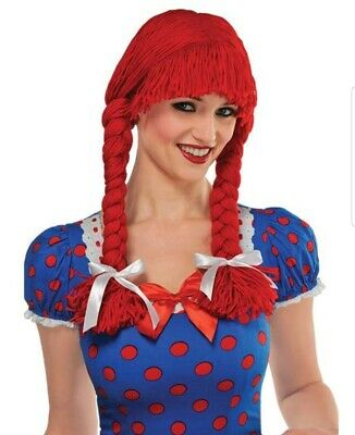Classic Rag Doll Wig Red Braids Pig Tails Costume Halloween Accessory
