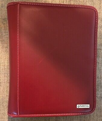 Classic Franklin Covey Red Leather 7 Ring Binder Winserts 8.5x10 Zipper