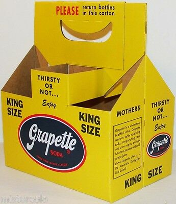 Vintage soda pop bottle carton GRAPETTE King Size unused new old stock n-mint