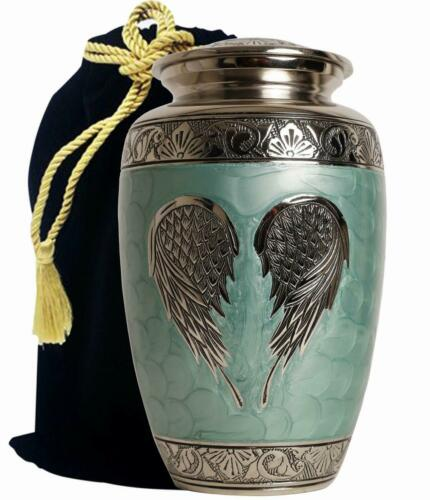 Aluminum Funeral Urns For Human Adult Ashes-Wings-Green-Silver-Large