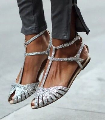 ZARA Silver Glitter Flat Jelly Sandals Shoes UK 5 Euro 38 for sale  Shipping to Nigeria