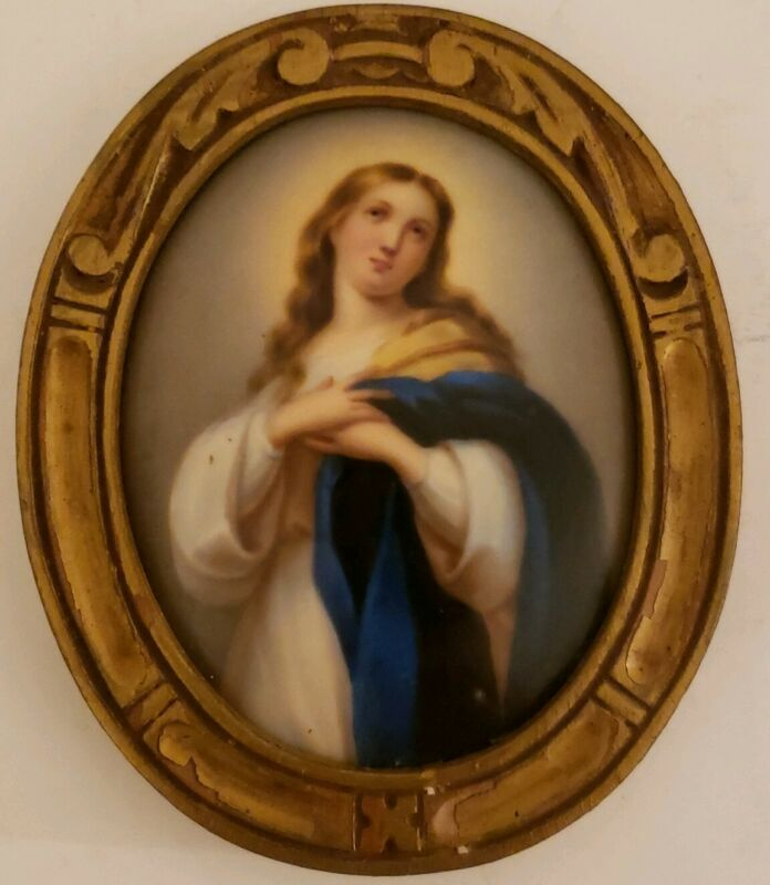 Antique 19th C. Framed Victorian Oval Portrait KPM Hand Painted Porcelain Plaque