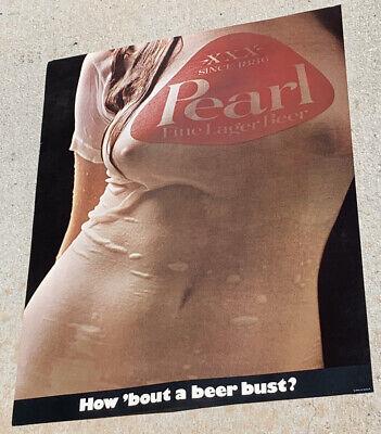 1975 Pearl Beer Wet T-Shirt Poster - Original NOS