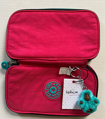KIPLING Kay Pen Pencil Case Cosmetic Pouch AC 8088 - 669 Vibrant Pink NWT