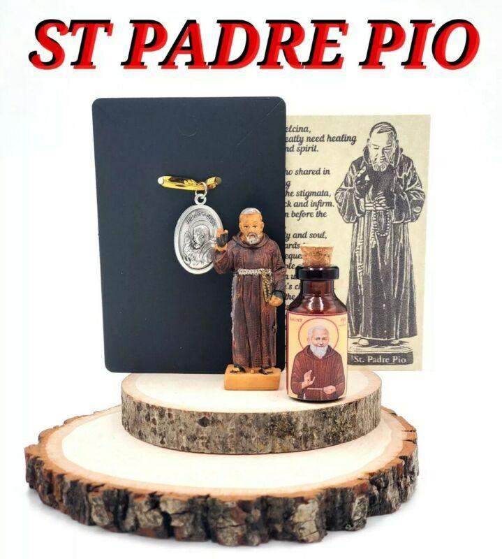 St Padre Pio healing stigmata Italian Saint holy medal blessed oil statue NEW