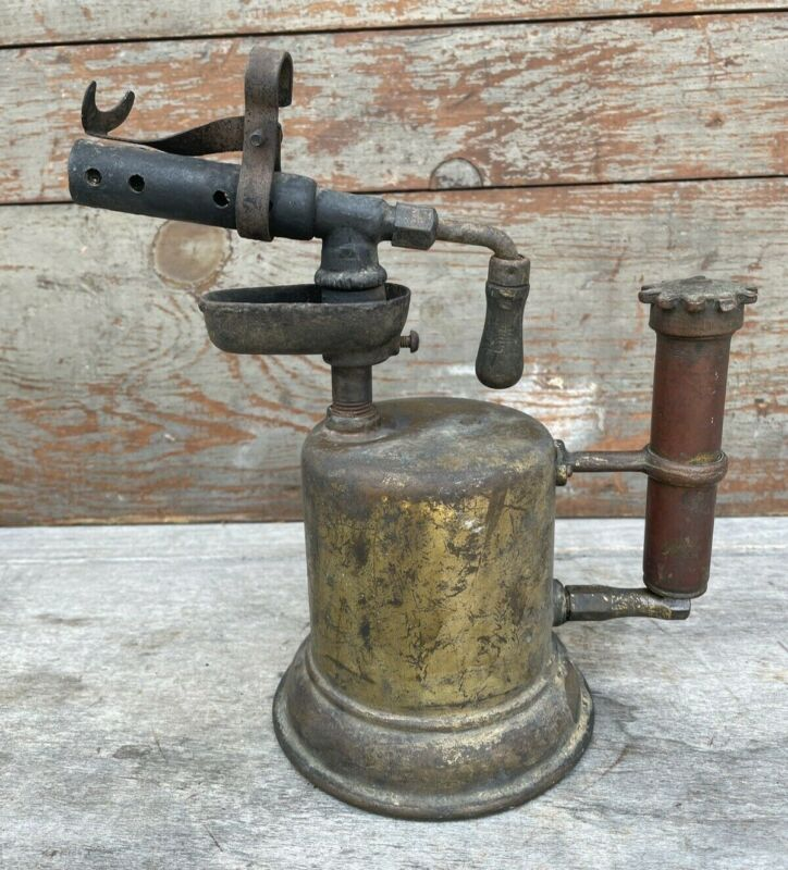 Old Vintage Small Brass Blow Torch w/ Dark Red Metal Handle in Great Shape VTG