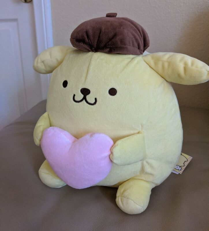 """New with tag - 12"""" Sanrio Plush - Pompompurin Soft Pink Heart - Round 1 Plush"""