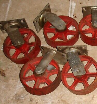 4 Vintage Cast Iron Wheels 8 Swivel Industrial Casters 8 Inch