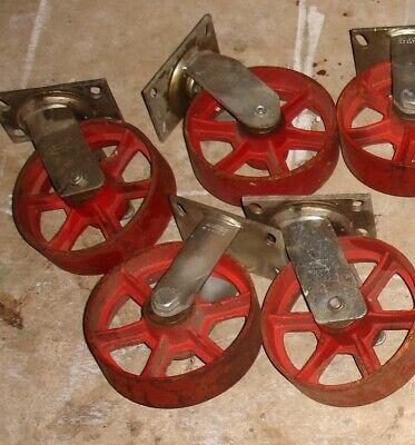 4 Vintage Cast Iron Wheels 8 Swivel Industrial Casters 8 Inch