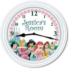 Princess PERSONALIZED Wall Clock - Disney Cinderella Belle Ariel Jasmine - GIFT