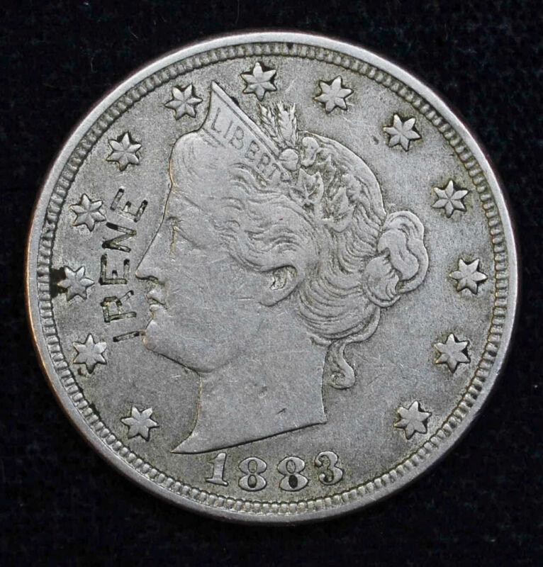 Love Token Engraved IRENE On 1883 Liberty Head V Nickel 5c Five Cents