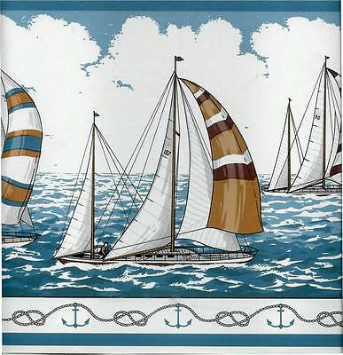 SAILBOATS, SAILING WITH THE BLUE SKY, ANCHORS, ROPE TRIM WALLPAPER BORDER