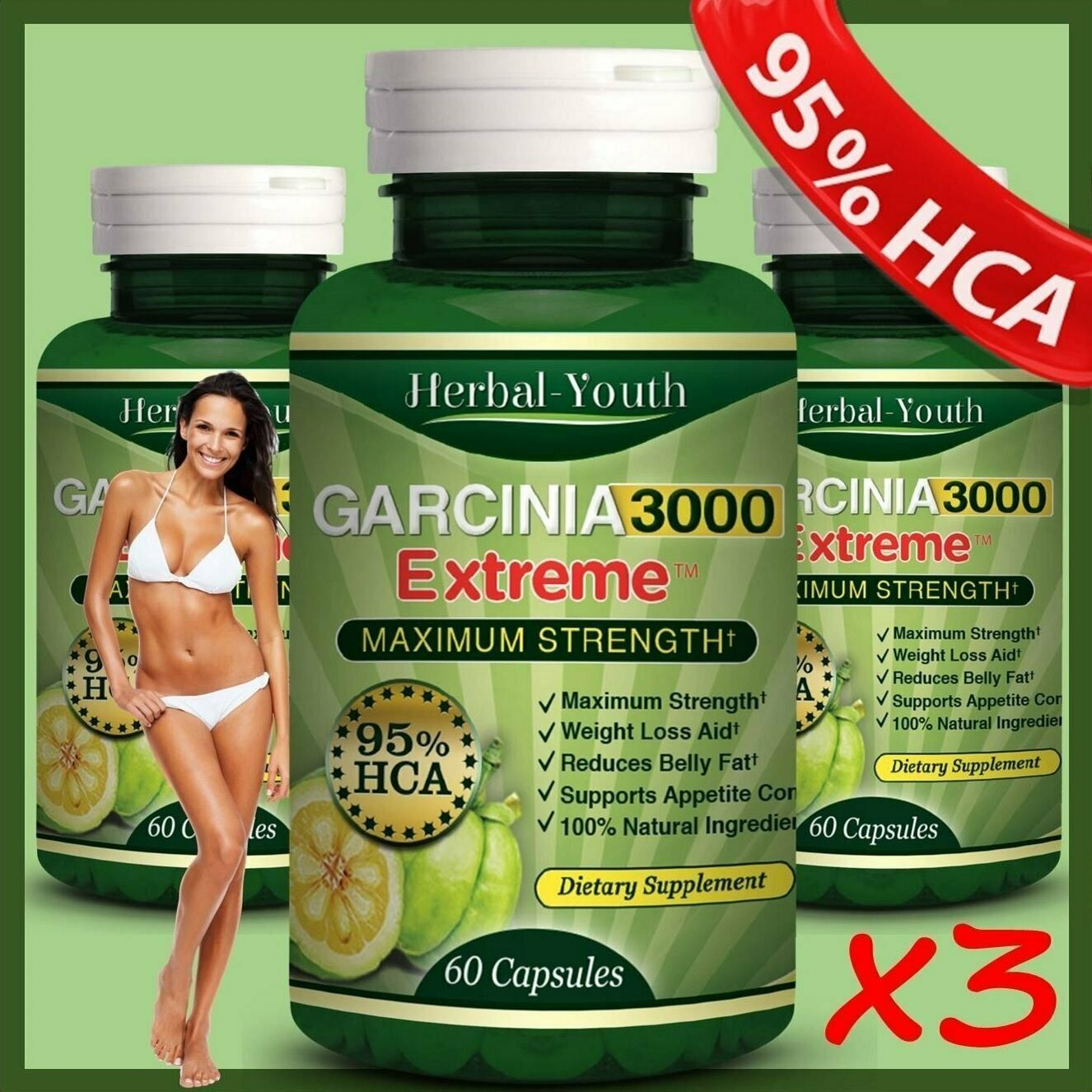3 BOTTLES - 180 GARCINIA CAMBOGIA EXTREME Weight Loss Diet C