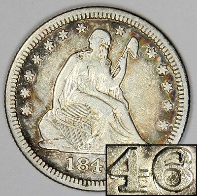 Click now to see the BUY IT NOW Price! 1846/46 SEATED QUARTER   EXTREMLY  OVERDATE VP 001 & B 2D VARIETY   XF