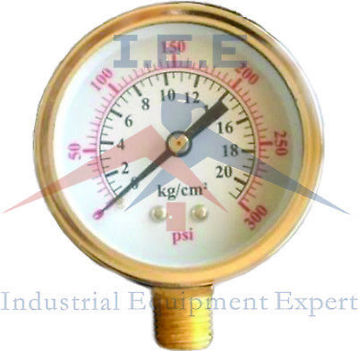 New Air Pressure Gauge Air Compressor Hydraulic 2.5 Face 0-300 Side Mnt 14npt