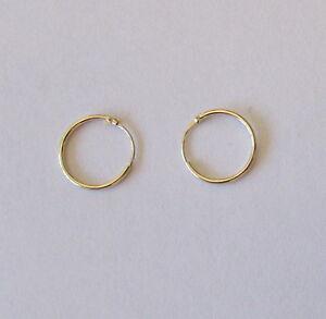 9ct Gold Tiny Baby Childrens Plain Sleeper Hoop Earrings 10mm ES315