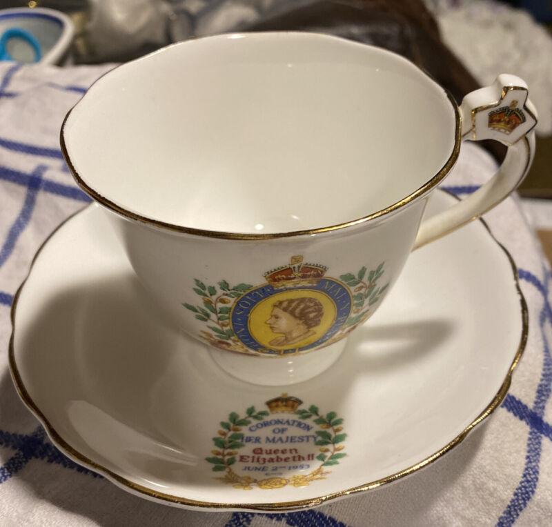 1953 Coronation QUEEN ELIZABETH II Cup & Saucer Rosina England