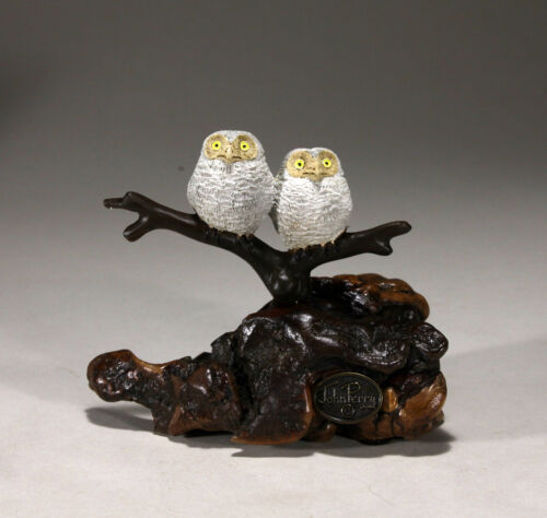 OWL BABIES by JOHN PERRY 6in tall Sculpture New direct from the Studio
