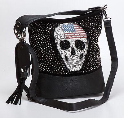 Schwarze Tote Handtasche (Handtasche / Umhängetasche mit aufgenähtem Totenkopf, schwarz mit Strass, XA486)