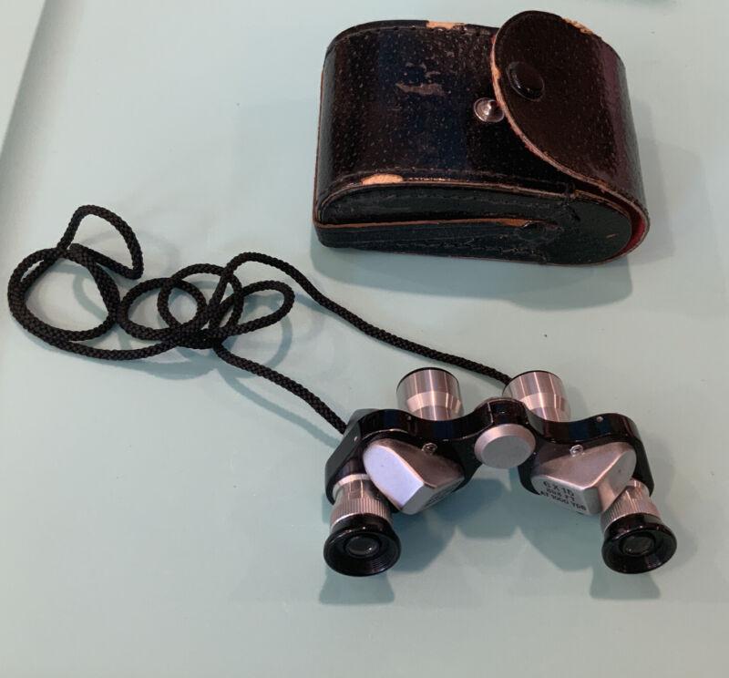 Miniature Opera Glass Binoculars with leather case vintage Korvette 6x15