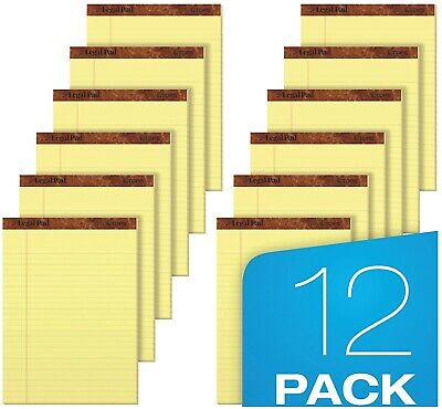 12 Ct Writing Pads Legal Ruled 8.5 X 11.75 Canary Yellow 50 Sheets Per Notepad