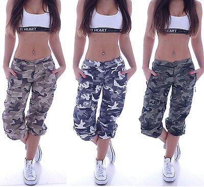 Armee Camouflage Shorts (Capri Bermudas Camouflage Cargohose Shorts Cargo Army Stoffhose Hose Armee D20)