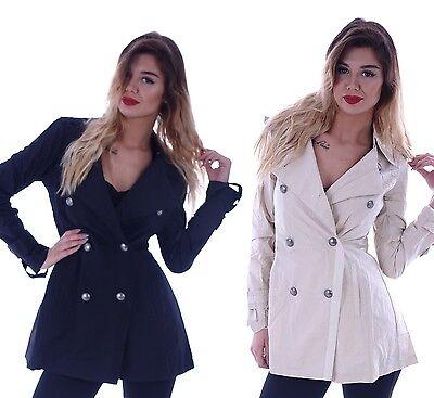Damen Lange Trenchcoat (Damen Mantel Trenchcoat Stoffmantel Jacke Übergangsjacke Lang Tailliert  B18)
