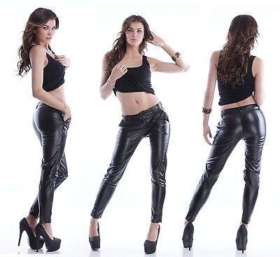 Reiten Jeans (Chino Hose Kunstlederhose Leder-Optik Jeans Reiterhose Glanz Gummi Hose S51)