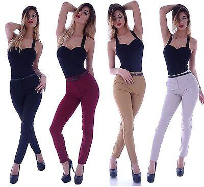 Reiten Jeans (Damen High Waist Business Hose Stoffhose Feine Hüfthose Bundfalte Reiterhose B78)