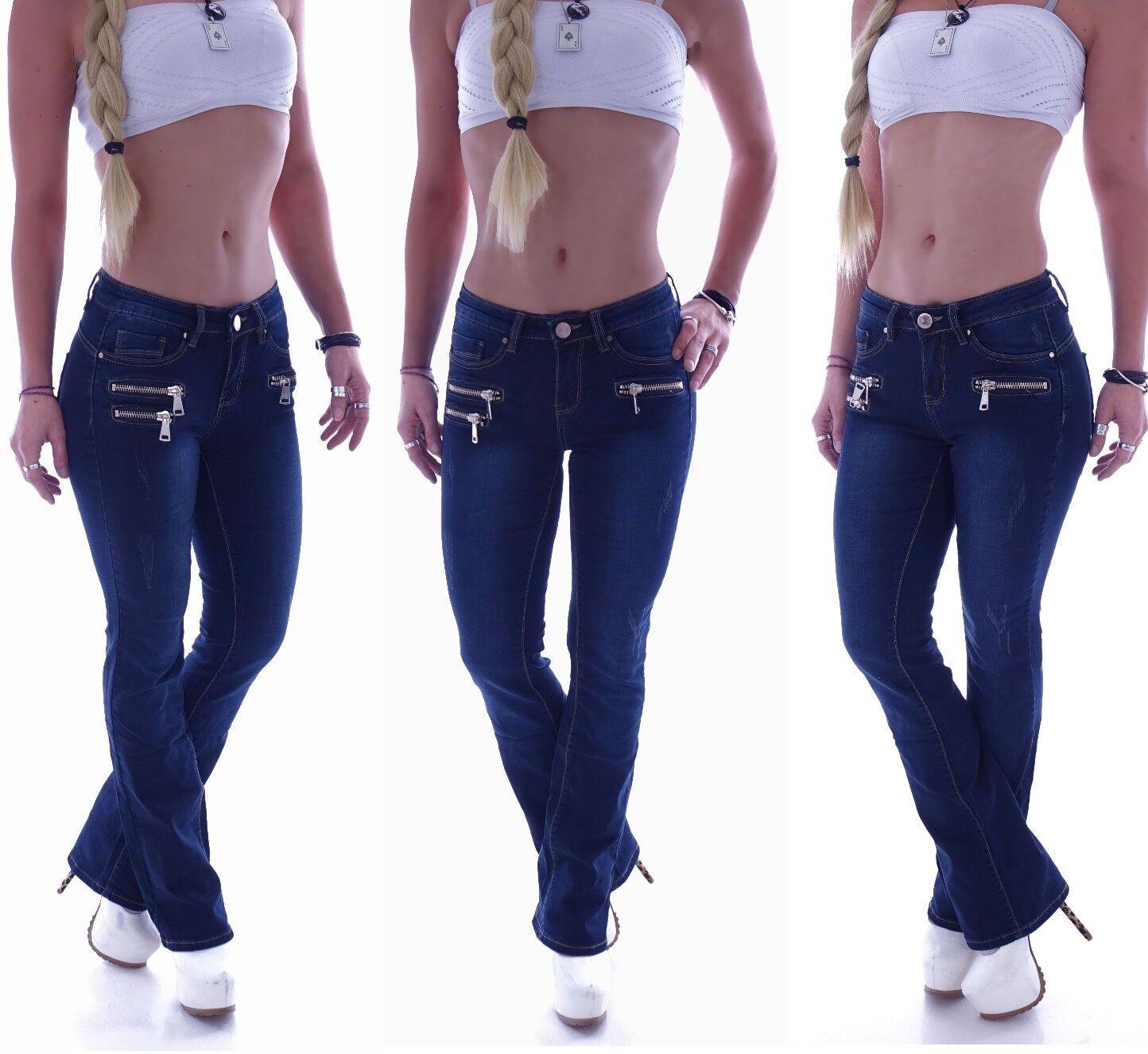 Damen Bootcut Jeans Schlag Hose Hüftjeans Blau Sexy Damenjeans Marlene D56