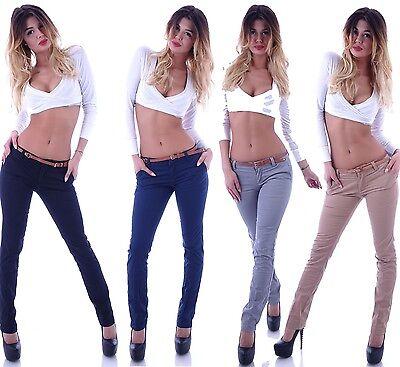Reiten Jeans (Damen Chinos Chino Hose Reiterhose Stoffhose Röhrjenhose mit Gürtel Hüfthose B77)