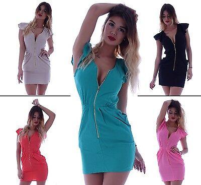 Peplum Kleid (Damen Kleid Minikleid Overall Jumpsuit Cocktailkleid Abendkleid Peplum Dress B51)